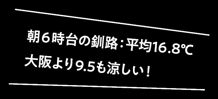 朝6時台の釧路:平均16.8℃大阪のマイナス9.5℃