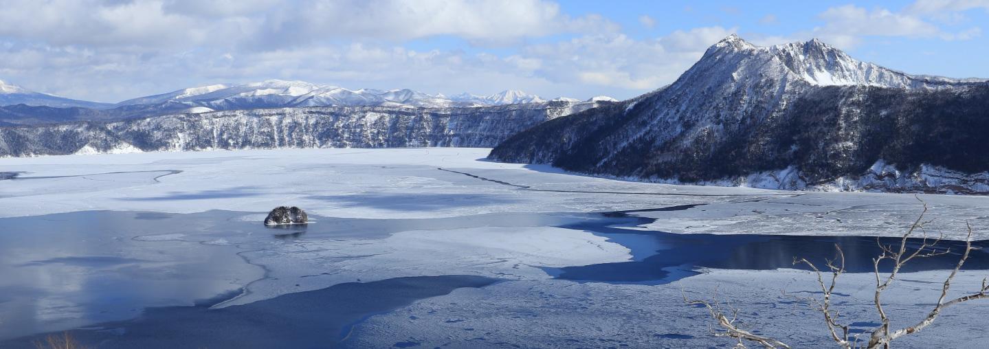 Winter Lake Mashu at Teshikaga