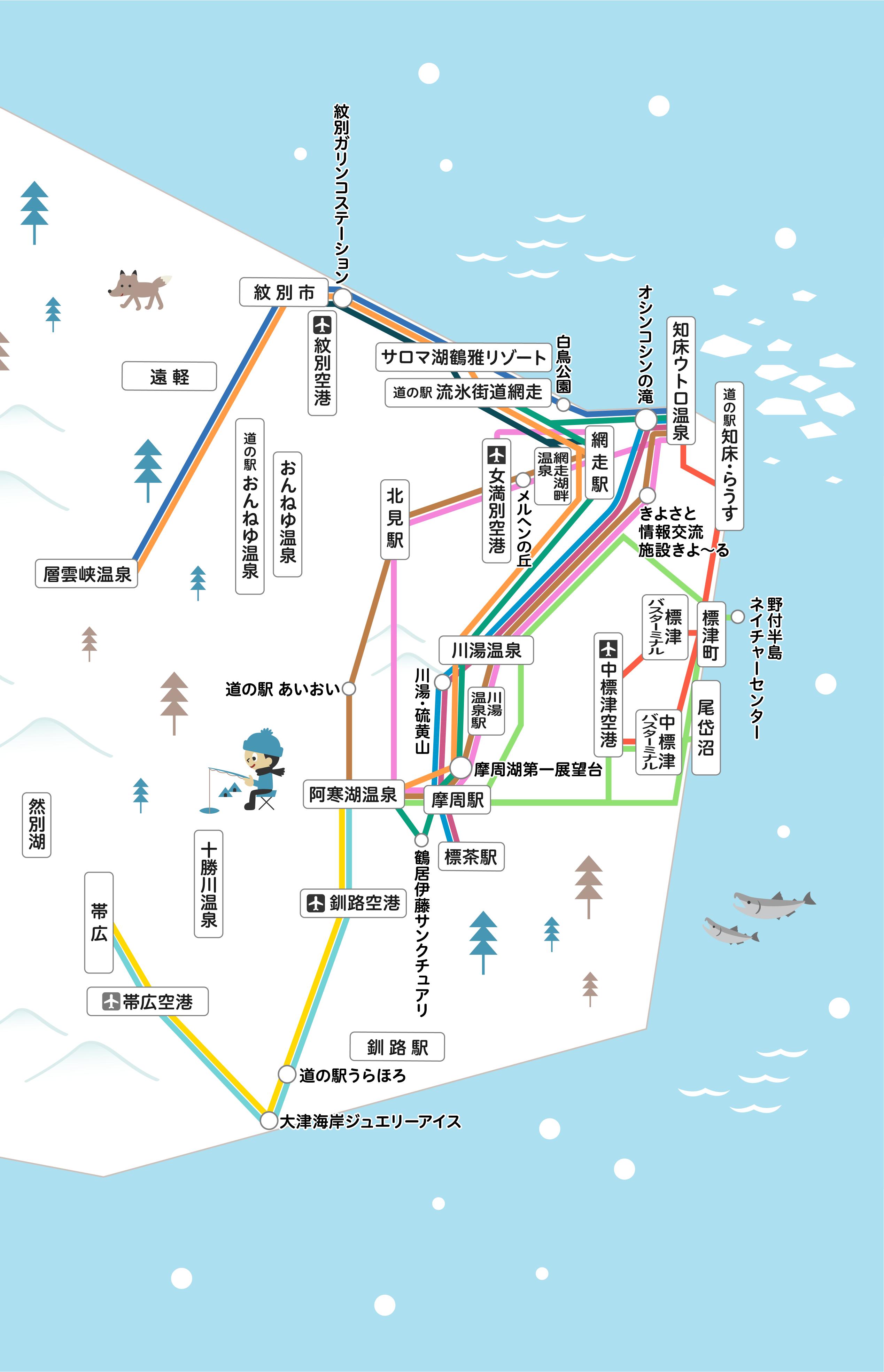 乗り放題パスA 路線図
