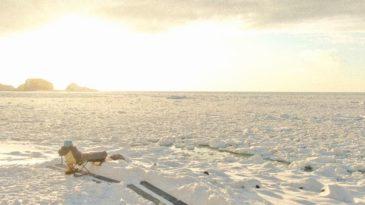 【知床】流氷浴。イスを置き、寝袋で世界自然遺産知床の流氷を眺める!